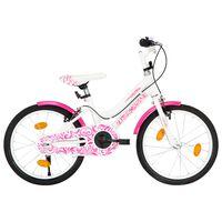 vidaXL Детски велосипед, 18 цола, розово и бяло