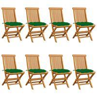 vidaXL Градински столове със зелени възглавници 8 бр тик масив
