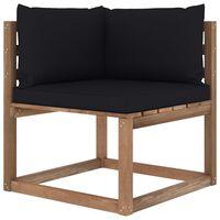 vidaXL Градински палетен ъглов диван с черни възглавници