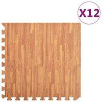 vidaXL Постелки за под 12 бр дървесни шарки 4,32 м² EVA пяна