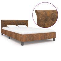 vidaXL Рамка за легло, кафява, изкуствен велур, 120x200 см