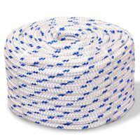 vidaXL Морско въже, полипропилен, 8 мм, 100 м, бяло