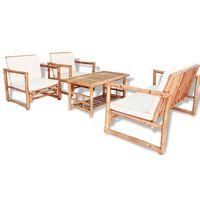 vidaXL Градински комплект с възглавници, 4 части, бамбук