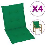 vidaXL Възглавници за градински столове, 4 бр, зелени, 100x50x4 см