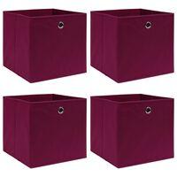 vidaXL Кутии за съхранение, 4 бр, тъмночервени, 32x32x32 см, текстил