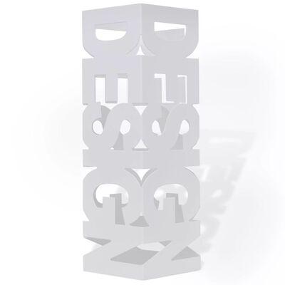 Квадратна стоманена стойка за чадъри, щеки за ходене 48,5 см, бяла