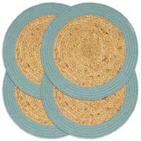 vidaXL Подложки за хранене 4 бр натурално и зелено 38 см юта и памук