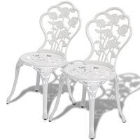 vidaXL Бистро столове, 2 бр, лят алуминий, бели