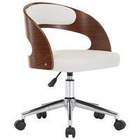 vidaXL Въртящ офис стол, бял, извито дърво и изкуствена кожа