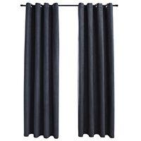 vidaXL Затъмняващи завеси с метални халки, 2 бр, антрацит, 140x225 см