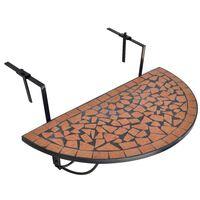 vidaXL Висяща балконска маса, теракота, мозайка