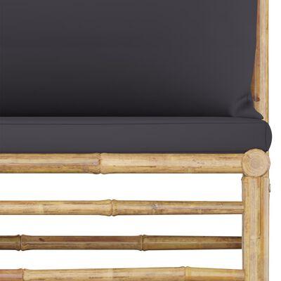 vidaXL Градински среден диван с тъмносиви възглавници, бамбук