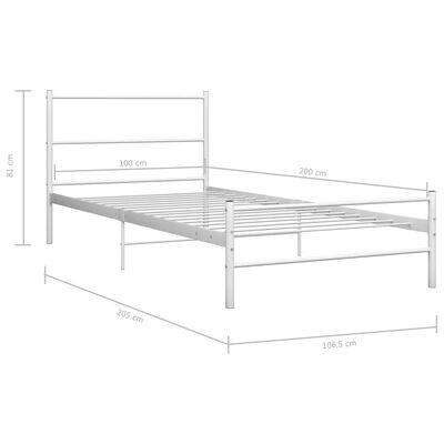 vidaXL Рамка за легло, бяла, метал, 100x200 cм