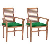 vidaXL Трапезни столове 2 бр зелени възглавници тиково дърво масив