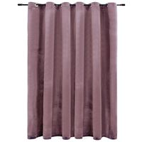 vidaXL Затъмняваща завеса с метални халки, кадифе, розова, 290x245 см