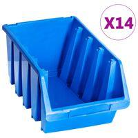 vidaXL Стифиращи контейнери за съхранение, 14 бр, сини, пластмаса