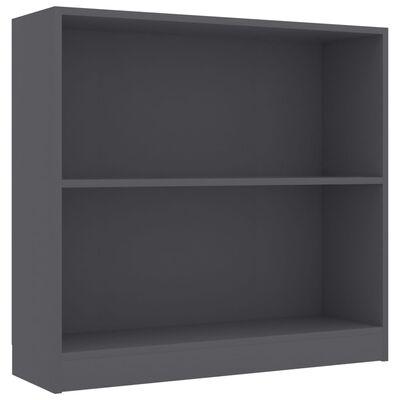 vidaXL Етажерка за книги, сива, 80x24x75 см, ПДЧ