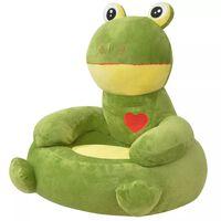 vidaXL Плюшен детски стол, жаба, зелен