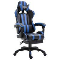 vidaXL Геймърски стол с подложка за крака, синьо, изкуствена кожа