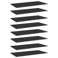 vidaXL Рафтове за етажерка, 8 бр, черен гланц, 80x20x1,5 см, ПДЧ
