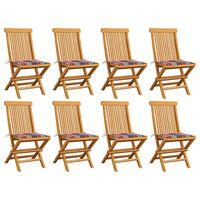 vidaXL Градински столове с възглавници червено каре 8 бр тик масив