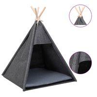 vidaXL Котешка палатка Типи с чанта, кадифе, черна, 60x60x70 см