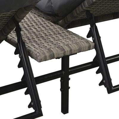 vidaXL Градински комплект с възглавници, 5 части, полиратан, сив