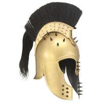 vidaXL Гръцки военен шлем антична реплика ЛАРП месингов цвят стомана