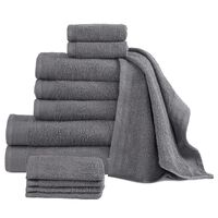 vidaXL Комплект от 12 хавлиени кърпи, памук, 450 г/м2, антрацит