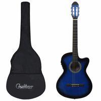 vidaXL Комплект уестърн китара с еквалайзер и 6 струни, 12 части, син