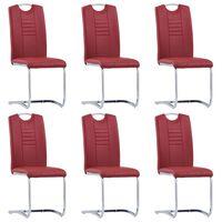 vidaXL Конзолни трапезни столове, 6 бр, червени, изкуствена кожа