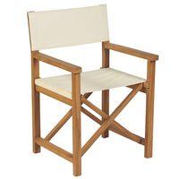vidaXL Сгъваем режисьорски стол, тиково дърво масив, кремовобял
