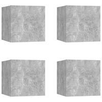 vidaXL ТВ шкафове за стенен монтаж, 4 бр, бетонно сиви, 30,5x30x30 см