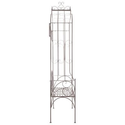 vidaXL Градинска пейка, 122 см, желязо, антично кафяво