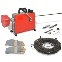 vidaXL Машина за почистване на тръби, 250 W, 15мх16мм, 4,5мх9,5мм