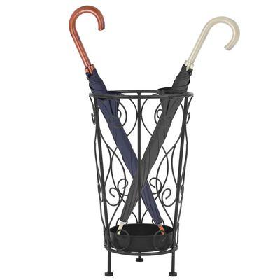 vidaXL Поставка за чадъри, винтидж стил, метална, 26x46 см, черна