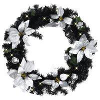 vidaXL Коледен венец с LED лампички, черен, 60 см, PVC