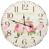 vidaXL Винтидж стенен часовник Цветя, 60 см