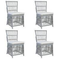 vidaXL Трапезни столове с възглавници, 4 бр, сиви, естествен ратан