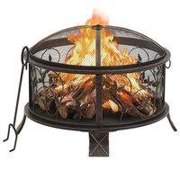 vidaXL Рустик преносимо огнище с ръжен, 67,5 см, XXL, стомана