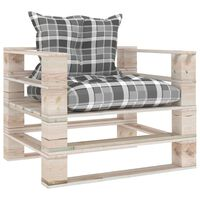 vidaXL Градински палетен диван с възглавници на сиво каре, бор