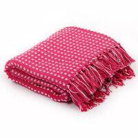 vidaXL Декоративно одеяло, памук, каре, 220x250 см, розово