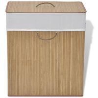 vidaXL Бамбуков кош за пране, правоъгълен, естествен цвят