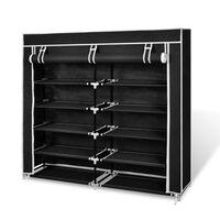 vidaXL Платнен шкаф за обувки с покривало 115 х 28 х 110 см, черен