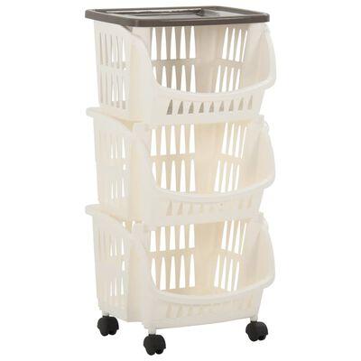 vidaXL Кухненска количка, бяло и кафяво