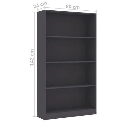 vidaXL 4-етажна библиотека, сива, 80x24x142 см, ПДЧ
