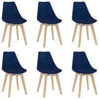 vidaXL Трапезни столове, 6 бр, сини, кадифе