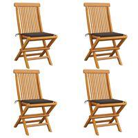 vidaXL Градински столове с възглавници таупе 4 бр тиково дърво масив