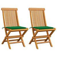 vidaXL Градински столове със зелени възглавници 2 бр тик масив