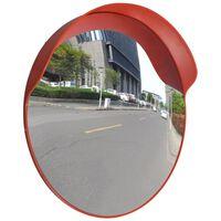 vidaXL Изпъкнало пътно огледало, PC пластмаса, оранжево, 60 см, улично